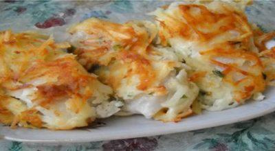 Очень вкусный праздничный рецепт жареной рыбы под тертой картошкой