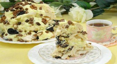 Торт «Графские развалины» с безе и масляным кремом на сгущенке