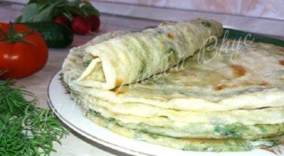 Обалденные слоеные лепешки с зеленью