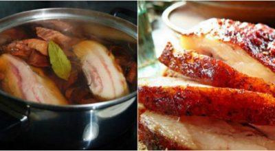 Фирменный рецепт самой вкусной в мире грудинки: золотистая, нарядная, ароматная!