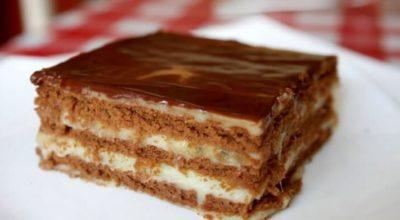 Шоколадно-банановый торт без выпечки за 15 минут