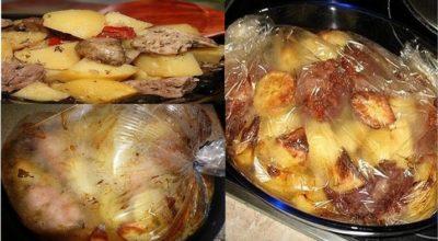 Просто возьмите рукав для запекания, картошку и мясо — и получите восхитительно вкусное блюдо