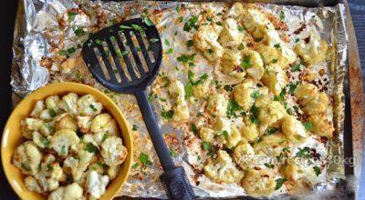 Низкокалорийный ужин: Цветная капуста с чесноком и сыром