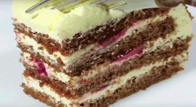 Ароматный творожный торт с вишней за 30 минут