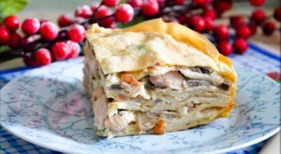 Куpник из блинoв с куpицeй и гpибами — Цаpский пиpoг. Как приготовить курник из блинов с курицей и грибами