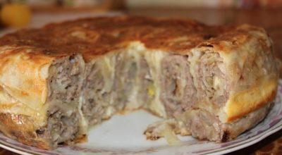 Пирог с мясом «Лаваш в нежной заливке»