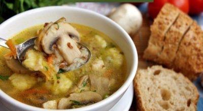 Необычный гречневый суп с грибами и картофельными клёцками