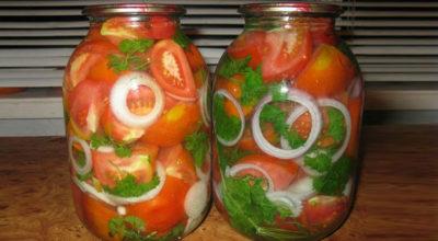 Маринованные помидоры с луком на зиму по-домашнему. Обалденно вкусный рецепт