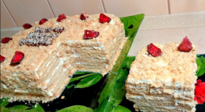 Торт без выпечки за 5 минут «Сметанник»
