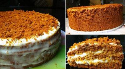 Бисквитный торт «Медовый». Нежный, вкусный и приготовить легко