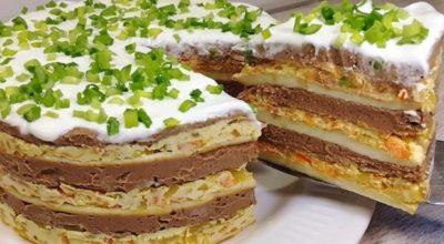 Многослойный закусочный торт, который любой стол сделает праздничным. Как долго я его искала