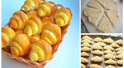 Отличный рецепт дня — сладкие рогалики из обалденно вкусного теста