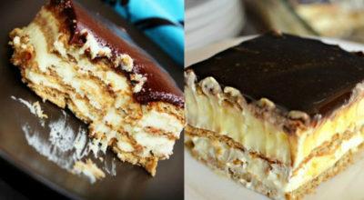 Восхитительный торт «Эклер» без выпечки из 4 ингредиентов