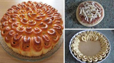 Мясной пирог «Хризантема». Нарядный и очень вкусный пирог